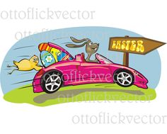 HAPPY EASTER CARD vector clipart, easter bunny, easter chicken easter eggs eps, ai, cdr, png, jpg, crazy easter rabbit and convertible by ottoflickvector on Etsy