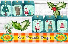 Printable Gift Tag,Christmas Tags, Cute Tags, Christmas, TAGNAVI-KENA-102 de CutePrintableDesigns en Etsy