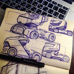 Trucks on Behance Ev Truck, Model Sketch, Truck Design, Hand Sketch, Transportation Design, Future Car, Cool Trucks, Heavy Equipment, Concept Cars