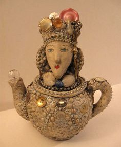 polymer clay on a teapot