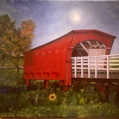 Oil painting I did of the Bridge in The Bridges of Madison County