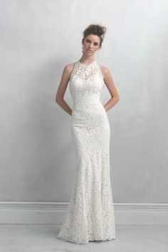 Madison James Wedding Dress is ideal for the slightly mod, sophisticated bride. This floral lace sheath features a beaded halter neckline. Wedding Dresses Photos, Bridal Wedding Dresses, Wedding Dress Styles, Bridesmaid Dresses, Halter Dresses, Inexpensive Wedding Dresses, Lace Wedding, 2nd Marriage Wedding Dress, Mermaid Wedding