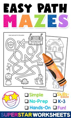 "Simple Beginning Mazes for Kids! Each sheet has a fun-themed maze for your students to follow and color in along the way. Your students will follow the path as it loops and winds it's way around the page, often overlapping. Can they find their way? Purchase now and get your students on the ""path"" to fun and critical thinking!"