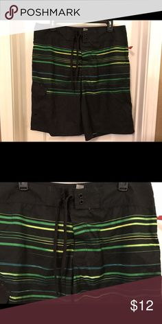 Mossimo Men's Swimming Board Shorts Size 36 NWT Mossimo Men's Swimming Board Shorts Size 36. They are new with tags. Colors are black with green, blue and yellow stripes. No mesh lining. Has 1 Velcro pocket. Outside drawstring. Material is 100% polyester. Smoke-free home. Mossimo Supply Co. Swim Board Shorts