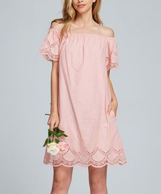 Loving this Pink Embroidered-Lace Off-Shoulder Dress on  zulily!   zulilyfinds 6bb04a744
