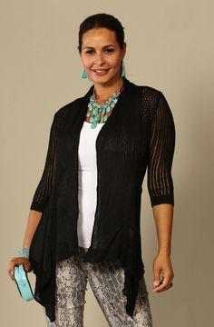 Black 3/4 Sleeve Crochet Flyaway Cardigan