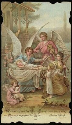 Glory to God in the Highest. Victorian Christmas, Christmas Art, Vintage Christmas, Christmas Angels, Xmas, Catholic Art, Religious Art, Vintage Holy Cards, Religious Pictures