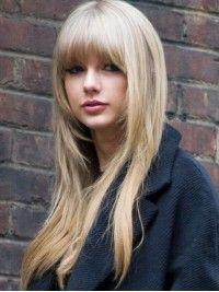 Hübische Blond Lace Front Echthaar Perücke mit Vollem Pony HH012
