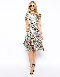 Love   Love Midi Skater Dress in Botanical Floral Print at ASOS