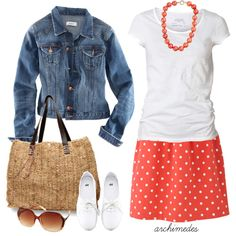 "A jean jacket and a colorful skirt. Love the texture of the purse.  ""Cute Coral"" by archimedes16 on Polyvore"