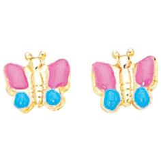 14K Yellow Gold w/ Pink Blue Yellow Butterfly Like Children Earring ($187) ❤ liked on Polyvore featuring jewelry, earrings, yellow gold jewelry, blue butterfly earrings, butterfly earrings, 14 karat gold jewelry and pink earrings