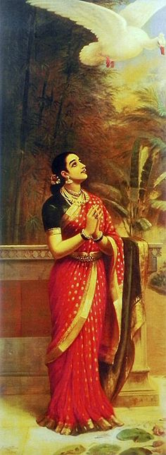Princess Damayanti Sending the Royal Swan as Messenger to King Nalan - Reprints of Raja Ravi Varma Paintings (Reprint on Paper - Unframed) Ravivarma Paintings, Indian Art Paintings, Kali Statue, Namaste Art, Raja Ravi Varma, Indian Women Painting, Indian Folk Art, Indian Artist, Family Poster