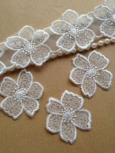 Items similar to 2 Yards White Sakura Embroidered Tulle Lace Applique For Bridal, Costume, Jewelry Design on Etsy Hand Work Embroidery, White Embroidery, Beaded Embroidery, Machine Embroidery Designs, Embroidery Stitches, Freeform Crochet, Crochet Lace, Lace Flowers, Fabric Flowers