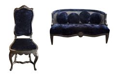 #47B-Beautiful Vintage Gone Modern Navy Blue Crushed Velvet Chair with hi-gloss charcoal wood frame. Also see accompanying settee.
