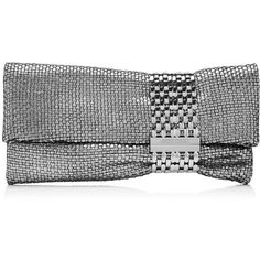 Jimmy Choo Chandra Silver Woven Leather Clutch Bag with Linked Chain... found on Polyvore