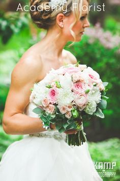 Vintage Wedding Bouquet - pinks and whites and look at the bride's arms! Brides with Sass Approved!
