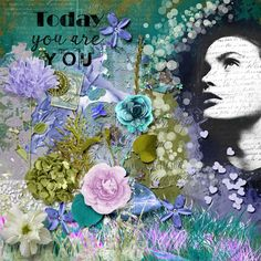 Today you are you Purple And Black, Blue Green, Digital Scrapbooking, Layout, Sky, Projects, Painting, Heaven, Log Projects