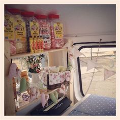 Retro sweets inside Bluebelle the ice cream van: Bluebelle the vintage ice cream and cupcake van. Kissmycake.co.uk
