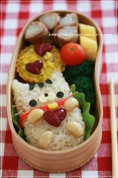 cat bento - nice use of beans to make hearts!
