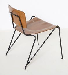 Molded Plywood and lacquered iron chair by Gaston Rinaldi ca.1950's