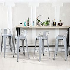 "Belleze 30"" Bar Height Stools With Backs Kitchen Bar Set ..."