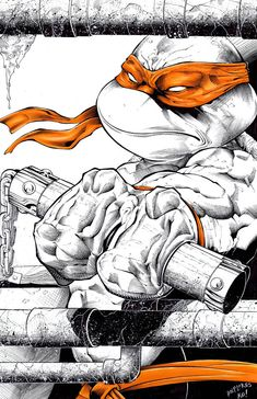 Michaelangelo commission inks and colors by TonyKordos on DeviantArt