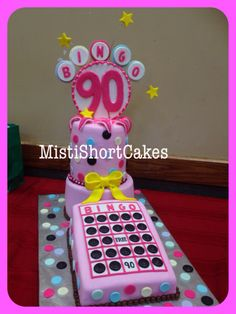 BINGO Cake 90th Birthday Party Cake Made by Misti Short Cakes Www.mistishortcakes.com Facebook: Misti Short Cakes 75th Birthday Parties, 90th Birthday, Bingo Cake, Mom Cake, Cake Business, Unique Cakes, Cute Cakes, Cake Art, Party Cakes