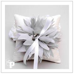 LYDIA series - grey chiffon flower on cream silk dupioni wedding ring pillow. $40.00, via Etsy.