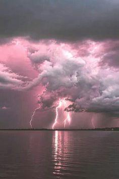 Pink Lightning! | thunderstorm | | nature | | amazingnature | #nature #amazingnature https://biopop.com/