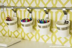 Great use of rail and hooks. Use either a shower rod or check out a kitchen supply store. Scrapbook Room Organization, Home Organization, Scrapbook Rooms, Organizing, Easy Arts And Crafts, Crafts For Kids, Quick Crafts, Creative Crafts, Home Office