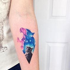 Two in one cat tattoo
