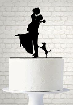 Hey, I found this really awesome Etsy listing at https://www.etsy.com/listing/234328189/bride-and-groom-wedding-cake-topper-dog