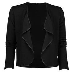 Une cérémonie ou une soirée en perspective ? Optez pour cette veste courte élégante et classe à manches longues, pipping simili cuir. #mim 19.99#