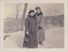 Vintage Antique Photograph Two Women Wearing Great Outfits Standing in Snow