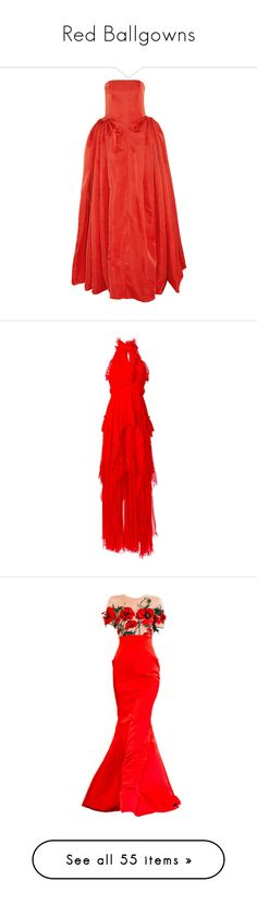 """""""Red Ballgowns"""" by burn-notice ❤ liked on Polyvore featuring dresses, gowns, alexander mcqueen, long dresses, red, corset evening gown, red corset, ruched dress, corset dresses and corset ball gown"""