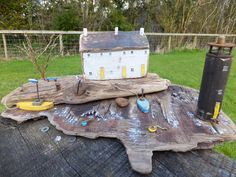 """Coastguards Way"" by Trysorau Cymraeg. Handmade in Wales from driftwood and recycled materials, including Welsh slate."