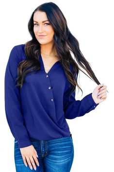 Blue Surplice Button Trio Top for Women – kaliyy Best Tank Tops, Daily Fashion, Latest Fashion, Women's Fashion, Cropped Tank Top, Buttons, Stylish, Long Sleeve, Sleeves