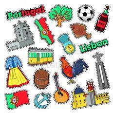 Elementos de viagens de Portugal com arquitetura para crachás, adesivos, impressões. Doodle de vetor — Vetor de Stock Portugal Flag, Portugal Travel, Silhouettes, Symbol Design, Sewing Stitches, Oriental, Symbols, Culture, Country