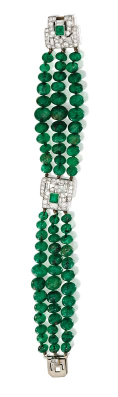 PLATINUM, EMERALD BEAD, DIAMOND AND EMERALD BRACELET, LACLOCHE FRÈRES, FRANCE, CIRCA 1930. Composed of three strands of emerald beads, accented at intervals by geometric motifs set with numerous baguette, old European and single-cut diamonds weighing approximately 2.00 carats, further set with two square emerald-cut emeralds, length 7 inches, signed Lacloche Frères.