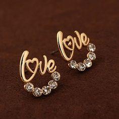 Monarch Gold Color Love Shape Alloy Stud Earrings  www.asujewelry.com
