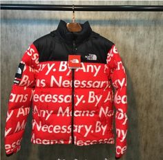 SUPREME X THE NORTH FACE BY ANY MEANS NECESSARY RED WHITE PARKA JACKET  $225