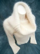 Mango / MNG Fluffy White 50% Angora Huge Cowl Angora Sweater! (UE)