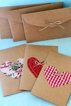 Gift stationary: Use kraft paper and envelope templates to create these rustic and eco-friendly envelopes. Use leftover fabric to add a little flair to your envelopes - Blogger suggests buying Japanese wooden envelope templates, but you can make your own by finding an envelope that you like, soaking in water and carefully taking it apart to reveal it's shape