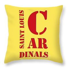 "Saint Louis Cardinals Typography Yellow Throw Pillow by Pablo Franchi.  Our throw pillows are made from 100% spun polyester poplin fabric and add a stylish statement to any room.  Pillows are available in sizes from 14"" x 14"" up to 26"" x 26"".  Each pillow is printed on both sides (same image) and includes a concealed zipper and removable insert (if selected) for easy cleaning."