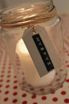 """candle jar...another very simple idea for a Silent Night candle...tag could say """"Silent Night"""""""