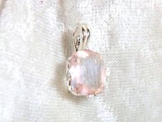 10x8mm Rose Quartz Pendant, Pink Pendant, Emerald shape 3ct Solid 925 Sterling Silver