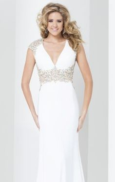 Beaded Cap Sleeved Gown by Tony Bowls Paris 115728