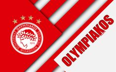 Download wallpapers Olympiacos FC, Piraeus, 4k, white red abstraction, Olympiacos logo, material design, Greek football club, Super League, Greece, Superleague Greece