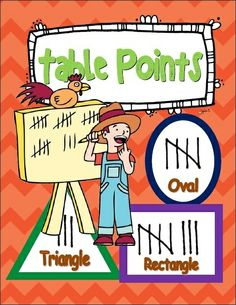 Keep track of table points during the day with these geometric shapes. Laminate and post on the bulletin board for easy viewing. Teach tally marks and geometric shapes on a consistent basis, making them part of your everyday classroom language.