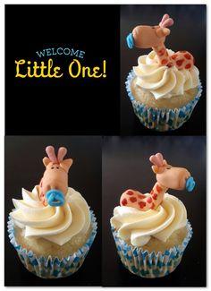 Baby giraffe themed cupcakes made by Suga Suga
